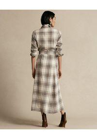 Ralph Lauren - RALPH LAUREN - Sukienka w kratę z paskiem. Typ kołnierza: polo. Kolor: beżowy. Materiał: materiał, bawełna. Długość rękawa: długi rękaw. Sezon: jesień. Typ sukienki: koszulowe #3