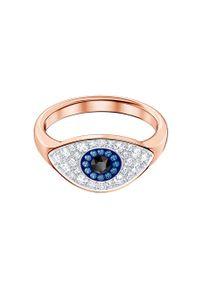 Złoty pierścionek Swarovski metalowy, z kryształem, z aplikacjami