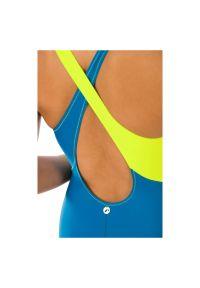 Strój kąpielowy Rontil 002. Kolor: niebieski. Materiał: dzianina, elastan, włókno, poliamid, materiał. Wzór: gładki