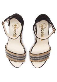 Czarne sandały Espadrilles casualowe, z aplikacjami