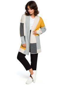 Szary sweter oversize MOE długi, w kolorowe wzory