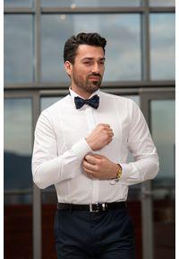 VEVA - Męska Koszula z Plisowaniami Kołnierz Pod Muchę. Kolor: biały. Materiał: bawełna, materiał. Długość rękawa: długi rękaw. Długość: długie. Styl: elegancki