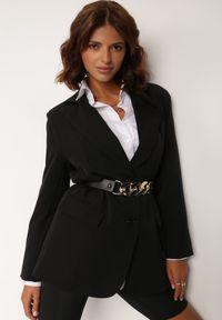 Renee - Czarna Marynarka Alemeina. Okazja: na spotkanie biznesowe. Kolor: czarny. Styl: wizytowy, biznesowy