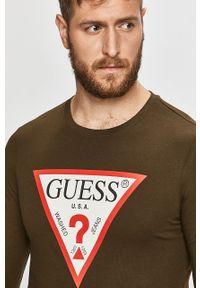 Zielona koszulka z długim rękawem Guess Jeans casualowa, z nadrukiem, na co dzień