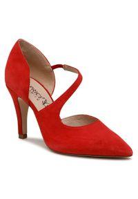 Czerwone półbuty Caprice z cholewką, na wysokim obcasie, na szpilce, eleganckie