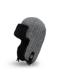 PaMaMi - Zimowa czapka, uszatka męska - Jasnoszara mulina. Kolor: szary. Materiał: akryl. Sezon: zima
