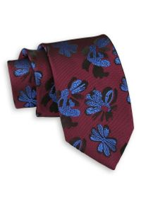 Ciemny Bordowy Elegancki Krawat -Chattier- 7cm, Męski, w Niebieskie Kwiatki. Kolor: niebieski, czerwony, wielokolorowy. Materiał: tkanina. Wzór: kwiaty. Styl: elegancki