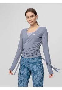 4f - Longsleeve damski do jogi. Kolor: niebieski. Materiał: dzianina, wiskoza. Długość rękawa: długi rękaw. Długość: długie
