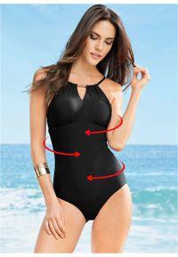 Kostium kąpielowy shape Level 3 bonprix czarny. Kolor: czarny. Wzór: aplikacja