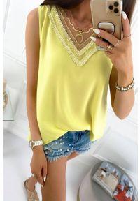 Żółty top IVET w koronkowe wzory, na lato, na ramiączkach