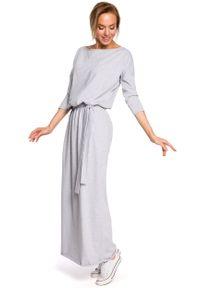 e-margeritka - Sukienka bawełniana do kostek szara - l/xl. Okazja: na co dzień. Kolor: szary. Materiał: bawełna. Styl: casual. Długość: maxi
