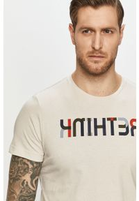 Szary t-shirt s.Oliver na co dzień, casualowy, z nadrukiem