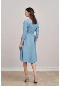 Marie Zélie - Sukienka Anastazja błękitna w kropeczki 46 niebieski. Kolor: niebieski. Materiał: dzianina, materiał, skóra, bawełna, elastan. Typ sukienki: rozkloszowane. Styl: klasyczny