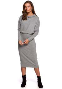 MOE - Kimonowa Sukienka z Ołówkowym Dołem - Szara. Kolor: szary. Materiał: elastan, bawełna. Typ sukienki: ołówkowe