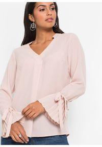 Różowa bluzka bonprix elegancka, z dekoltem w serek