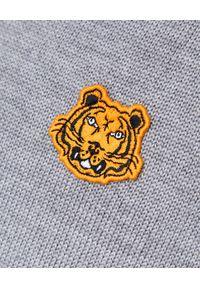 Kenzo - KENZO - Szary sweter z golfem. Okazja: na co dzień. Typ kołnierza: golf. Kolor: szary. Materiał: wełna. Wzór: haft, aplikacja. Styl: casual