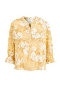 Cream Bluzka Niva żółty we wzory female żółty/ze wzorem 36. Kolor: żółty. Materiał: bawełna. Wzór: haft, kwiaty, ażurowy. Sezon: lato. Styl: elegancki