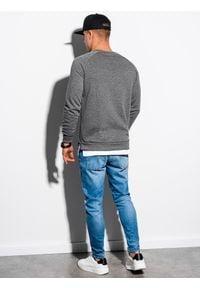 Ombre Clothing - Bluza męska bez kaptura B1217 - grafitowa - XXL. Typ kołnierza: bez kaptura. Kolor: szary. Materiał: bawełna, poliester