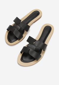 Born2be - Czarne Klapki Caphanorus. Nosek buta: okrągły. Kolor: czarny. Wzór: aplikacja. Sezon: lato #4