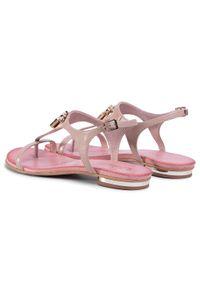 Różowe sandały R.Polański casualowe, z aplikacjami