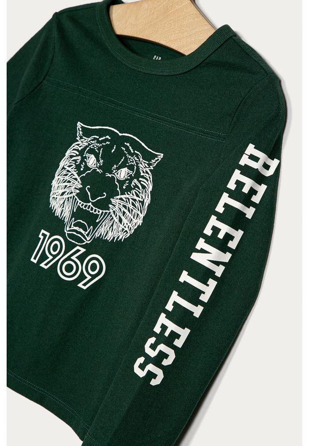 Zielona koszulka z długim rękawem GAP z okrągłym kołnierzem, na co dzień, casualowa, z nadrukiem