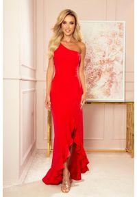 Czerwona sukienka wieczorowa Numoco z falbankami, maxi