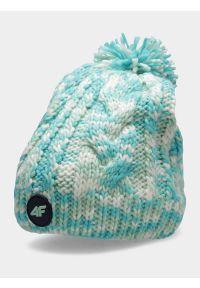 4f - Czapka zimowa z opaską polarową dziewczęca. Materiał: polar. Wzór: ze splotem. Sezon: zima