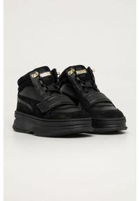 Czarne buty sportowe Puma Puma Suede, na średnim obcasie