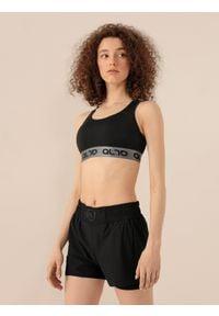 4f - Biustonosz treningowy Anna Lewandowska x 4F. Kolor: czarny. Materiał: włókno, dzianina, skóra. Wzór: nadruk