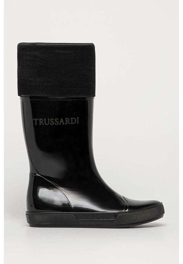 Czarne kalosze Trussardi Jeans klasyczne, z okrągłym noskiem, z cholewką
