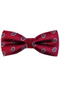 Modini - Bordowa mucha we wzór paisley C17. Kolor: czerwony. Materiał: tkanina, poliester. Wzór: paisley. Styl: elegancki