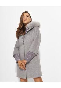 CINZIA ROCCA - Szary płaszcz z futrem. Kolor: szary. Materiał: futro. Długość: długie