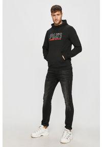 Czarna bluza nierozpinana 4f z nadrukiem, z kapturem, casualowa