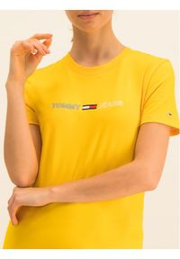 Tommy Jeans T-Shirt Neon Linear DW0DW07528 Żółty Regular Fit. Kolor: żółty