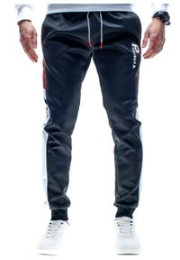 Czarne spodnie dresowe Recea trekkingowe, w kolorowe wzory