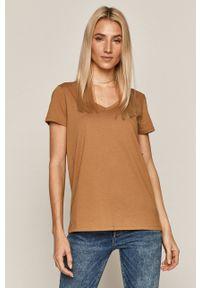medicine - Medicine - T-shirt Basic. Okazja: na co dzień. Kolor: beżowy. Materiał: dzianina. Wzór: gładki. Styl: casual