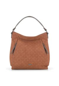 Brązowa torebka worek Wittchen na jesień, casualowa, w geometryczne wzory