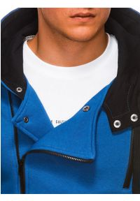Niebieska bluza Ombre Clothing z kapturem #5