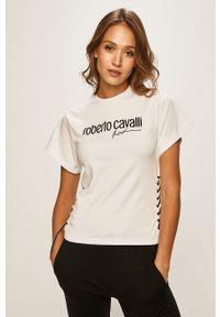 Biała bluzka ROBERTO CAVALLI SPORT sportowa, z aplikacjami, na co dzień