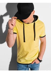 Ombre Clothing - T-shirt męski z kapturem bez nadruku S1376 - żółty - XXL. Okazja: na co dzień. Typ kołnierza: kaptur. Kolor: żółty. Materiał: bawełna, jersey, dzianina. Styl: klasyczny, casual