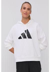adidas Performance - Bluza. Kolor: biały. Materiał: materiał. Wzór: nadruk