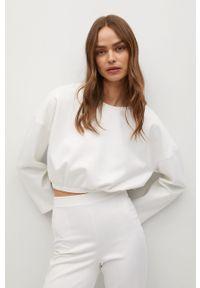 Biała bluza mango z długim rękawem, casualowa, bez kaptura, na co dzień
