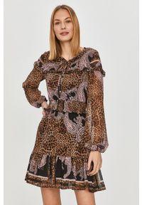 Liu Jo - Sukienka. Kolor: brązowy. Materiał: tkanina. Długość rękawa: długi rękaw. Typ sukienki: rozkloszowane