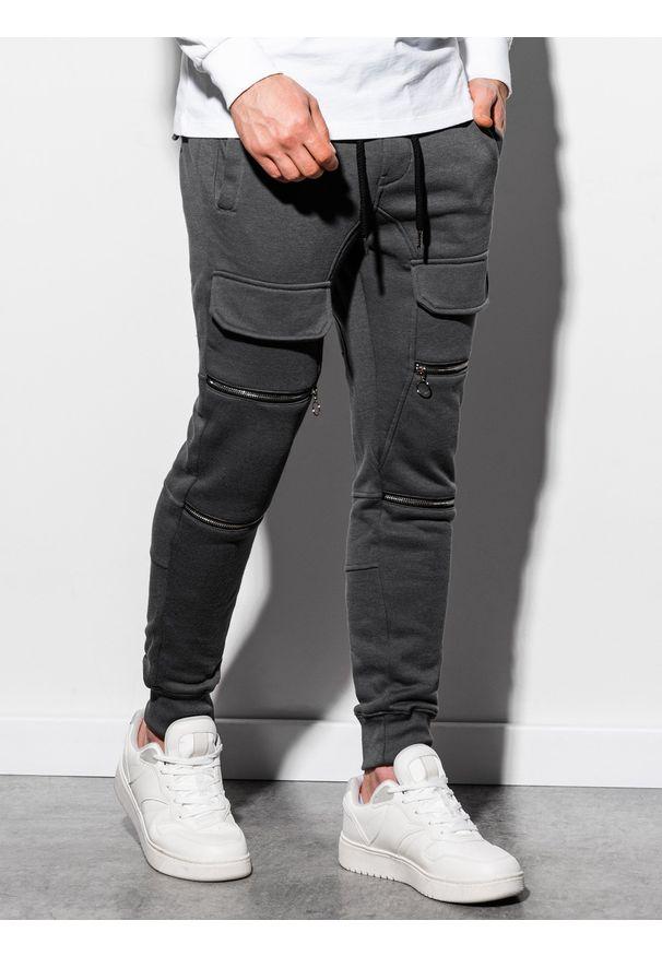 Ombre Clothing - Spodnie męskie dresowe joggery P901 - grafitowe - XXL. Kolor: szary. Materiał: dresówka