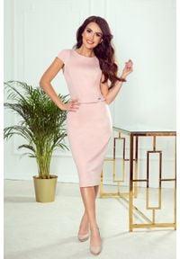 Numoco - Elegancka ołówkowa sukienka midi. Materiał: elastan, materiał. Długość rękawa: krótki rękaw. Typ sukienki: ołówkowe. Styl: elegancki. Długość: midi