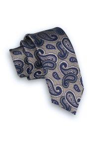 Alties - Beżowy, Jasnobrązowy Elegancki Krawat Męski -ALTIES- 6 cm, w Granatowy Wzór Paisley. Kolor: niebieski, beżowy, brązowy, wielokolorowy. Materiał: tkanina. Wzór: paisley. Styl: elegancki