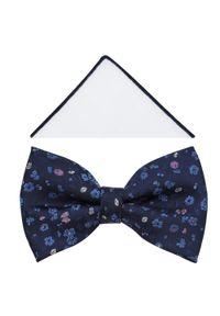 Modini - Granatowa mucha w drobne błękitne i różowe kwiatki A392. Kolor: niebieski, różowy, wielokolorowy. Materiał: tkanina, poliester. Wzór: kwiaty. Styl: elegancki