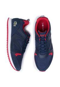 Niebieskie sneakersy Lacoste na co dzień, z cholewką