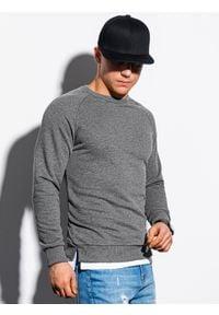 Ombre Clothing - Bluza męska bez kaptura B1217 - grafitowa - XXL. Typ kołnierza: bez kaptura. Kolor: szary. Materiał: poliester, bawełna