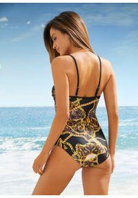 Czarny strój kąpielowy jednoczęściowy bonprix